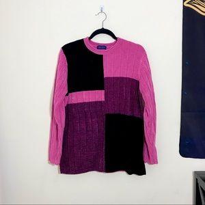 KAREN SCOTT Colorblocked Chenille Sweater